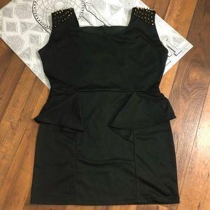 Black Peplum Mini Dress w/Gold Spike Shoulders 1X